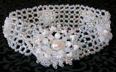 Silver Persian Beaded Bracelet (fivefootfury) Tags: white crystal jewelry bracelet beaded catseye persiancat silverpersian rightangleweave beadweaving whitepersian whitecatseye ebwteam crystalandwhite