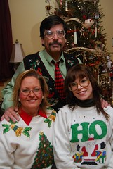 Merry Christmas (JenaAnd) Tags: christmas family red portrait white tree cute green john glasses sweater mona jena ugly bulbs