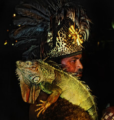 """Iguana"" (Vic de Vera) Tags: pet man green art colors look animals night photography photo interesting eyes hug nightshot image skin head philippines tribal expose lizard iguana scales manila species spines sideview spikes headdress aplusphoto vicdevera"