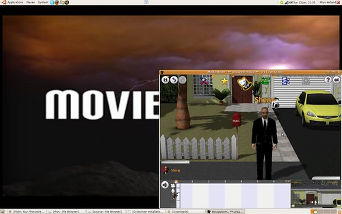 Moviestorm running on Ubuntu Linux with Crossover