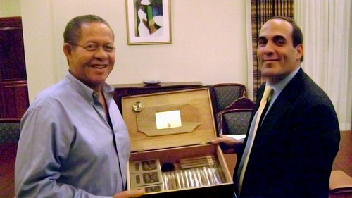 Prime Minister of Jamaica,The Honourable Bruce Golding (L) and Joseph Adduci