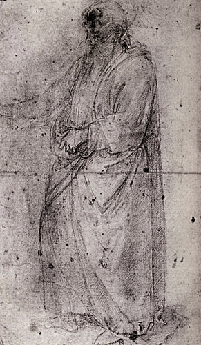 1502  Raphael    Study for God the Father  Black chalk and touches of white chalk  37,7x22,4 cm  Londres, British museum