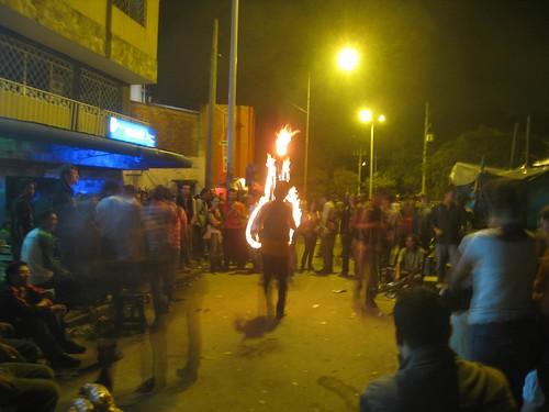 Friday night street performance near the University of Antioquia