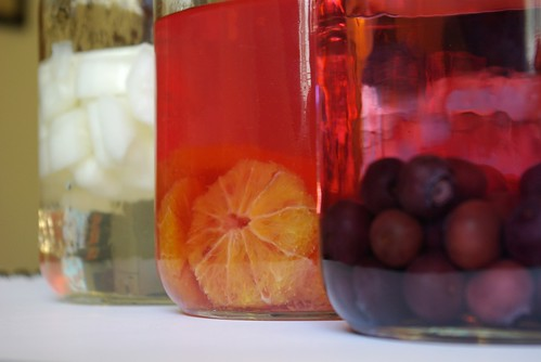 vodkas infused with blueberries, blood oranges, and cucumber by buildmakecraftbake