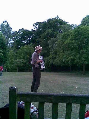 Robert Miles playing accordian