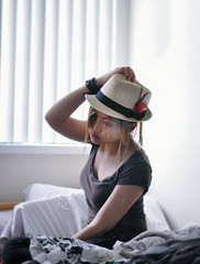 Feathery Solitude (Annie Hall Photography) Tags: selfportrait hat anniehall 52weeksproject serend1p1tyx
