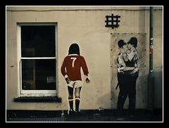 George Best & Banksy... (LukeDaDuke) Tags: uk greatbritain england urban streetart art french george football stencil kiss kissing brighton unitedkingdom britain soccer banksy police 7 best urbanart snog policeofficers snogging officers frenchkissing frenchkiss number7 georgebest