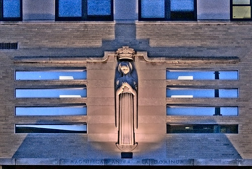 Saint Louis University, in Saint Louis, Missouri, USA - statue of Mary at dusk