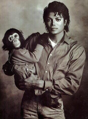 Michael Jackson and Bubbles photo