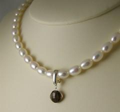 Custom order smokey quartz enhancer pendant (msbellee) Tags: handmade jewelry sterling etsy custom pendant diamondshaped smokeyquartz briolette enhancer msbelle hingedbail