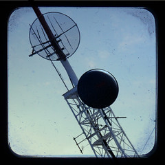 Alien Transmission (pairadocs) Tags: tower glass photoshop radio square alien wave aliens retro format signal receiver transmission antennae transmitter alienabduction ttv throughtheviewfinder fakettv pairadocs tuneintotokyo
