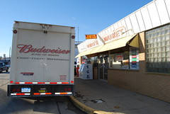 Delivery (E. Brow) Tags: party beer mi truck store michigan semi budweiser millington