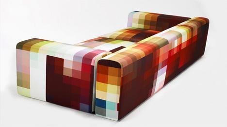 Perspectiva lateral del fabuloso sofá pixelado