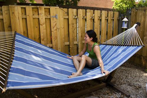 Lee Anne on the hammock
