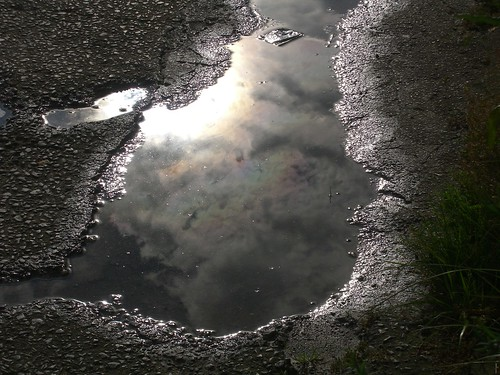 Puddle shows spectrum in clouds