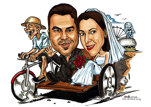 wedding couple caricatures on trishaw