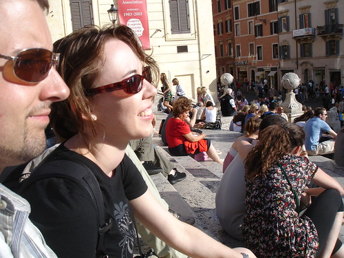 Kari and Ed people-watch on the Spanish Steps.