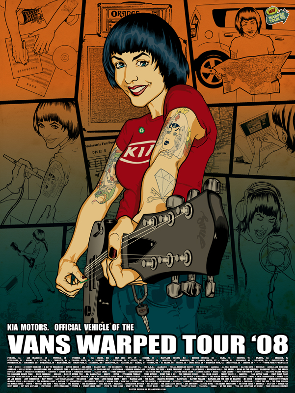 kia. warped tour.POSTER ewing