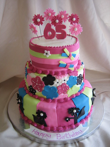 Bright Flower Birthday Cake