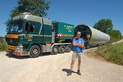 WINDMILL TRANSPORT (Claude  BARUTEL) Tags: portrait france ecology windmill dutch truck mercedes workers construction driver aveyron actros