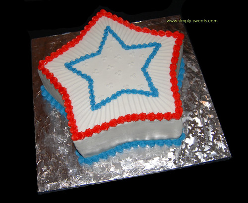 red, white, blue star cake