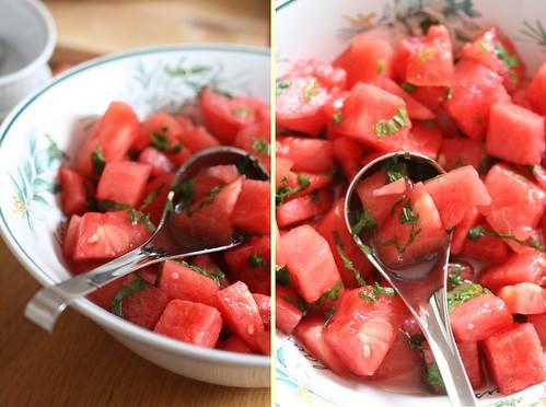Salade de pastèque à la menthe