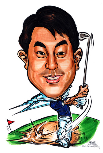 Caricature Air Products Asia golfer