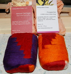 Felted soaps (ingermaaike2) Tags: felted soap natural handmade felt fiber norsk daisycakes wetfelted husflid håndlaget ingermaaike