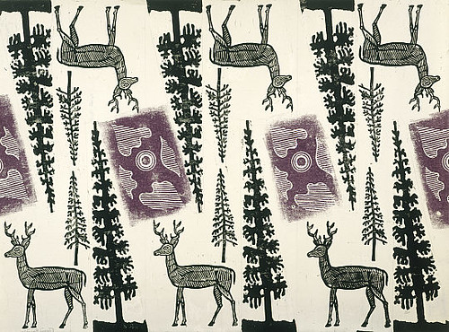 Design for Wrapping Paper (Deer and Trees) 1960 (via nationalgalleries.org)