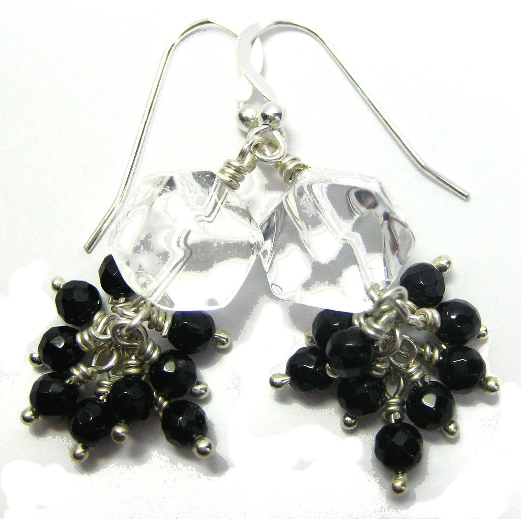 Rock Crystal and Onyx Cluster Earrings