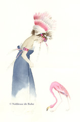 Lady with indian headdress and Flamingo (noblesse de robe) Tags: color watercolor painting robe kunst aquarelle indian flamingo magenta indigo peinture farbe schmuck headdress noblesse aquarell künstler malerei künstlerin