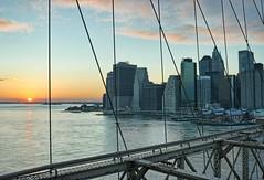 Statue of Liberty (xtaros) Tags: nyc bridge sunset newyork statue brooklyn liberty brooklynbridge statueofliberty