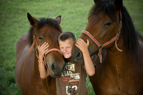 A child with two horses