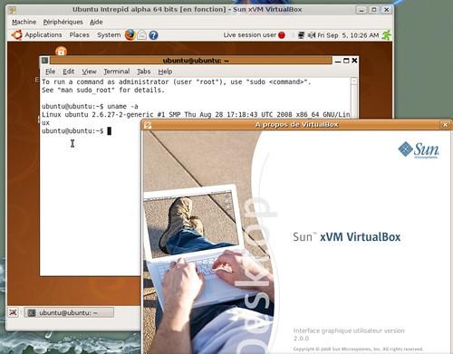 Ubuntu Intrepid Ibex AMD64 sous Virtual Box 2.0