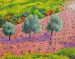 Cyprus vineyard with olives 2002,acrylic on paper. (Pogorita) Tags: painting landscape acrylic cyprus olives vinyard artillustration