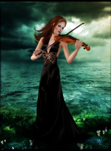 Violinist On The Ocean by Martina Cullen.
