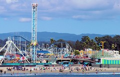Boardwalk Bedlam (cwgoodroe) Tags: california carnival blue wedding summer santacruz sun color beach water sand surf candy games boardwalk rollercoaster