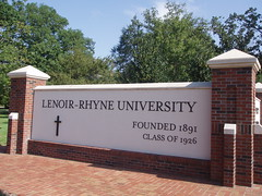 The Lenoir-Rhyne University sign