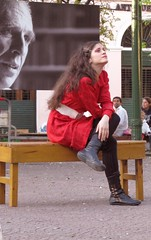 Miradas y sueos 2 (carlos_ar2000) Tags: street plaza red woman argentina girl beauty look bench square rouge calle mujer rojo buenosaires chica looking boots gorgeous banco dreams bella brunette mirada glance santelmo sueo morocha colourartaward urban8