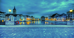view from the minster bridge @ zurich switzerland (Toni_V) Tags: reflection church switzerland europe tripod zurich perspective zrich rathaus 2008 hdr gitzo stpeter limmat d300 limmatquai sigma1020mm arcaswiss fpg 7exp capturenx toniv gt1540 toniv photomatix30 monoballz1 21092008