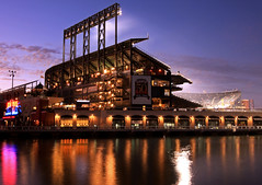 Home of the Giants (A Sutanto) Tags: sf sanfrancisco california ca reflection water night lights baseball dusk stadium cove sfgiants giants att ballpark mccoveycove twilights attpark earthnight
