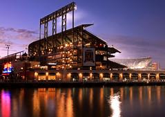Home of the Giants (A Sutanto) Tags: sf sanfrancisco california ca reflection water night lights baseball dusk stadium cove sfgiants giants att ballpark mccoveycove twilights attpark earthnight