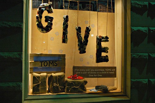 "The Word ""Give"" made of Toddler's shoes, Santa Cruz, California, USA by Wonderlane"