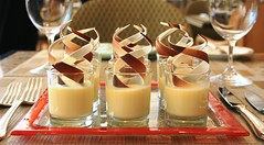 White Chocolate Pots de Creme with Orange blossom (Peter Arthold) Tags: dessert chocolate tasty sweets buffet whitechocolate mousse chocolatemousse orangeblossom dessertbuffet jummy redplate shooterglass individualdessert chocolatepotsdecreme