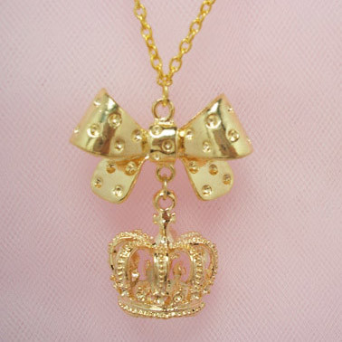 ribbon crown necklace (gold)