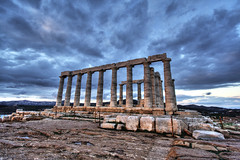poseidon's temple at sounion (helen sotiriadis) Tags: sunset architecture canon temple ancient ruins athens greece solstice canon350d poseidon hdr sounion canonefs1022mmf3545usm capesounion poseidonstemple toomanytribbles
