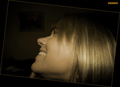 Happy Giulia II (ciliuz) Tags: party portrait smile photoshop pentax quadro sorriso 1001nights festa parete montagna ritratto soe ultimo viso capodanno trentino giulia stanza faccia seppia soraga bionda volto profili profilo k10d pentaxk10d theunforgettablepictures theperfectphotographer ciliuz
