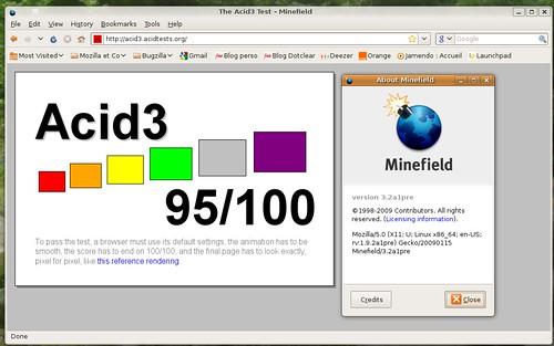 95 / 100 au test acid3 dans Minefield 3.2a1pre