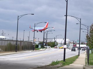 Southwest Airlines jet plane landing at Chicago's Midway Airport. Chicago Illinois. Early November 2006.