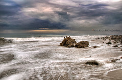 storm watchers (Kris Kros) Tags: ocean california ca sky usa storm rain birds rock clouds digital photography coast high highway rocks raw shot dynamic pacific wave stormy before malibu pch today range 2009 hdr kkg watchers blend blending photomatix kriskros 5xp kkgallery